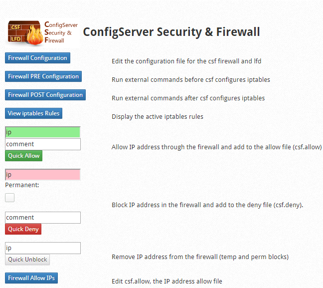 CSF Firewall