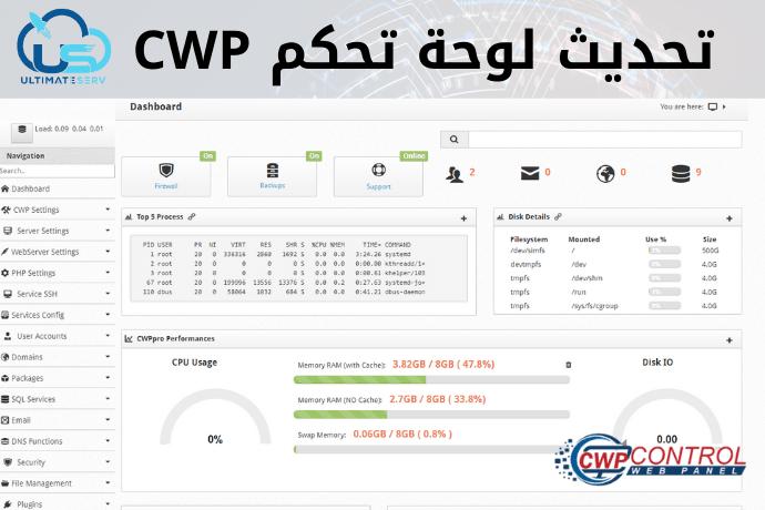 طريقة تحديث لوحة تحكم سنتوس ويب بنل CWP