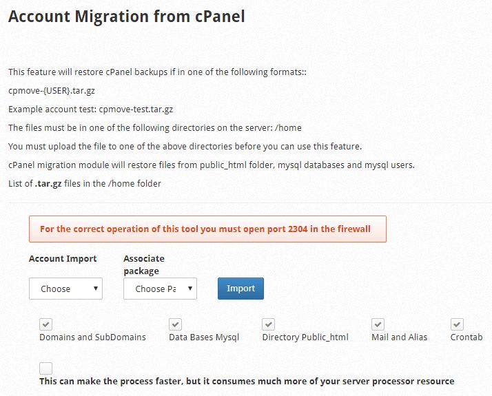 cPanel Migration