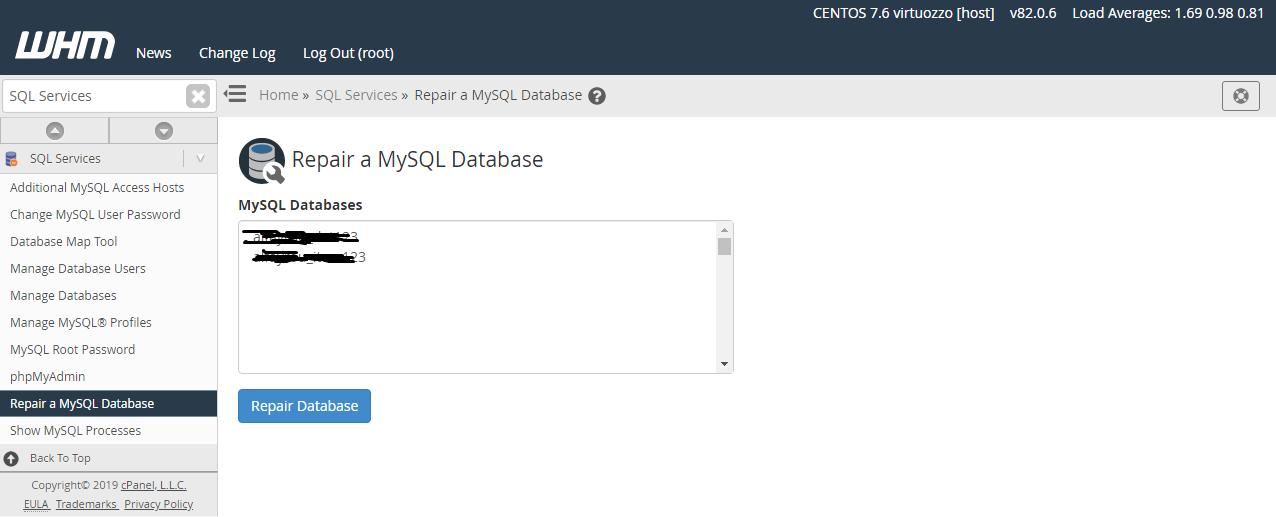 إصلاح قاعدة بيانات